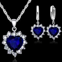 Set Zircon Heart-Modrá