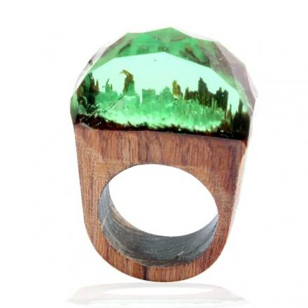 Prsteň Wood Resin Typ4-Zelená/59mm